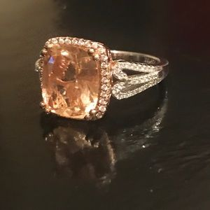 SS Peach color radiant cut Cubic zirconia ring